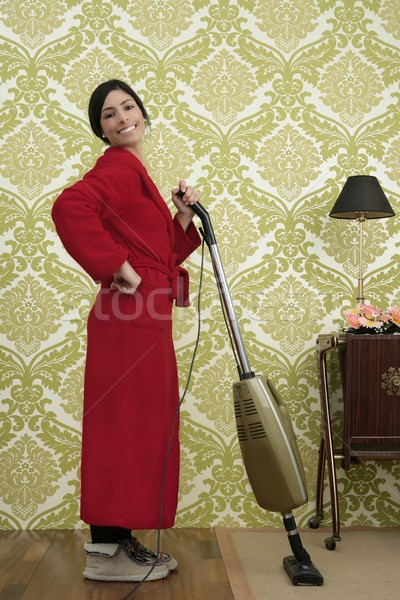 Bathrobe retro housewife woman vacuum cleaner Stock photo © lunamarina