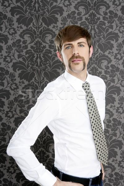 бизнесмен ретро усы серый обои галстук Сток-фото © lunamarina