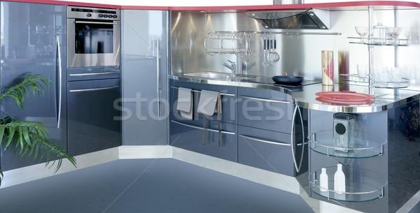 Cinza prata moderno design de interiores casa cozinha Foto stock © lunamarina