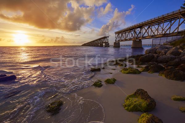 Flórida teclas velho ponte pôr do sol parque Foto stock © lunamarina