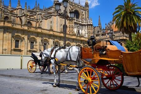 Fuvar Spanyolország város utazás építészet lovak Stock fotó © lunamarina