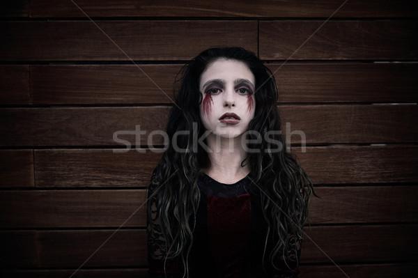 Halloween gyerek lány véres smink fából készült Stock fotó © lunamarina
