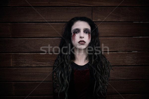 Хэллоуин Kid девушки кровавый макияж Сток-фото © lunamarina