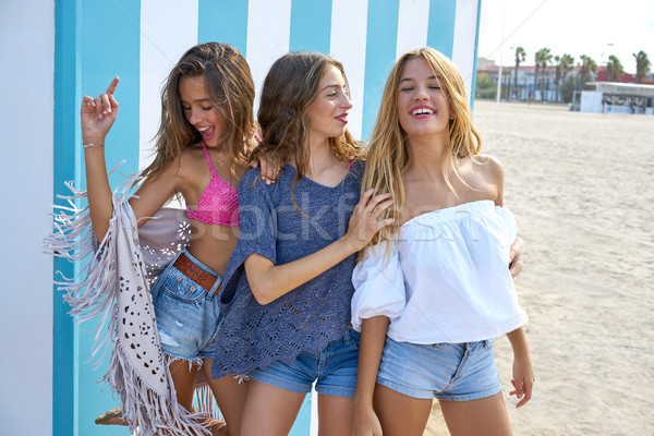 Best friends teen girls group happy in summer Stock photo © lunamarina