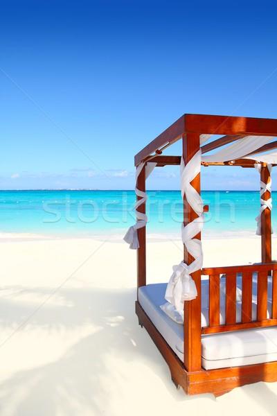 Foto stock: Cama · madeira · praia · caribbean · mar · areia
