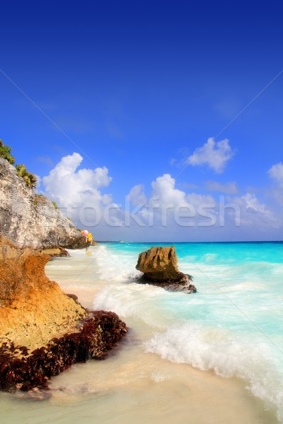 Caribbean beach in Tulum Mexico under Mayan ruins Stock photo © lunamarina
