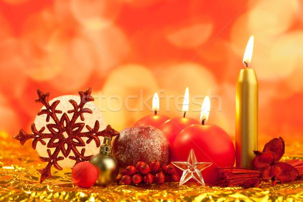 Stockfoto: Christmas · Rood · sneeuwvlok · kaarsen · bokeh · lichten