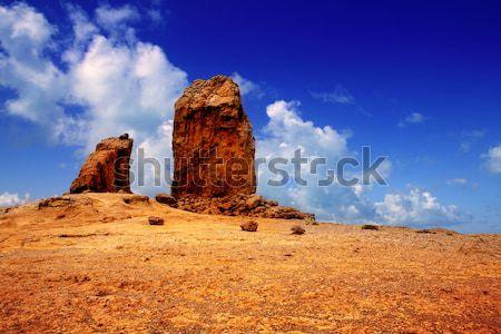 Gran canaria Roque Nublo blue sky Stock photo © lunamarina
