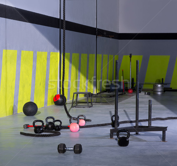 Crossfit Kettlebells ropes and hammer gym wall balls Stock photo © lunamarina