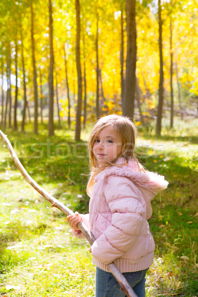 Explorer girl with stick in poplar yellow autumn forest Stock photo © lunamarina