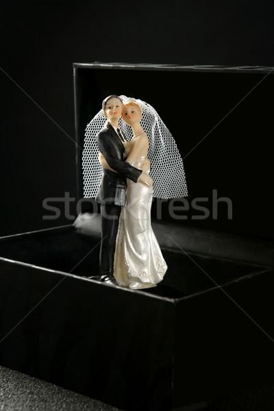 Huwelijk paar beeldje zwarte vak bruiloft Stockfoto © lunamarina