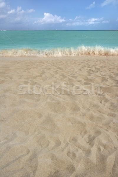 Strandzand perspectief zomer kustlijn wal zeegezicht Stockfoto © lunamarina