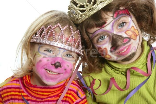 Stockfoto: Partij · weinig · twee · zusters · geschilderd · blij · gezicht