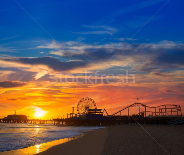 California puesta de sol muelle rueda reflexión Foto stock © lunamarina