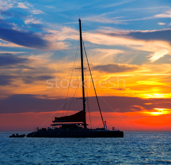 Ibiza san Antonio Abad catamaran sailboat sunset Stock photo © lunamarina