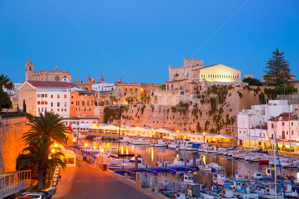 Ciutadella Menorca marina Port sunset town hall and cathedral Stock photo © lunamarina