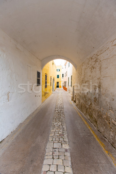 Menorca Carrer de Sant Climent barrel vault passage Stock photo © lunamarina
