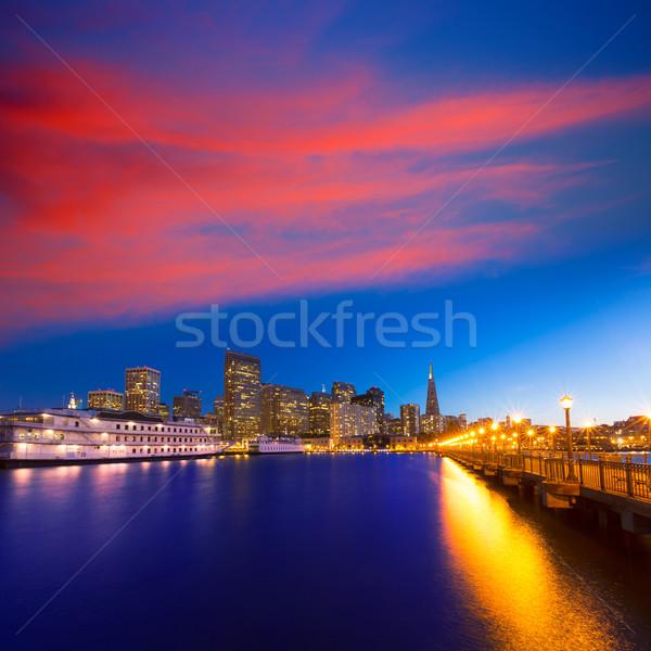 San Francisco móló naplemente Kalifornia USA égbolt Stock fotó © lunamarina