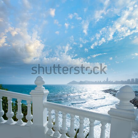 Benidorm balcon del Mediterraneo sea from white balustrade Stock photo © lunamarina