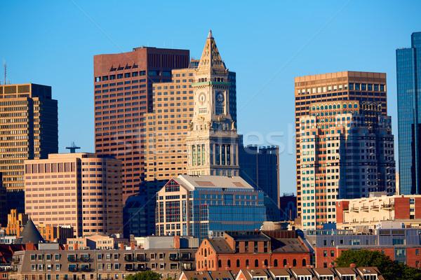 Boston horizonte luz del sol Massachusetts EUA cielo Foto stock © lunamarina