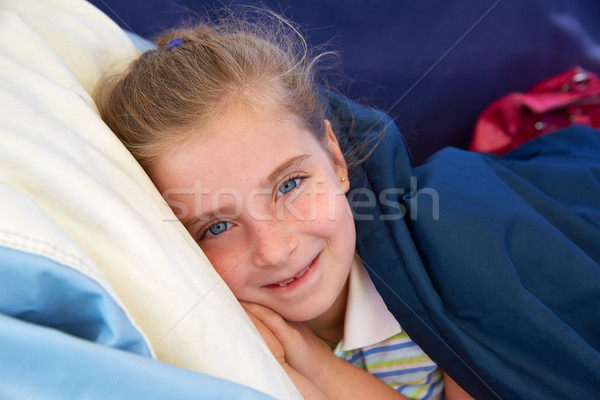 Blond kid girl tired relaxed smiling indented Stock photo © lunamarina