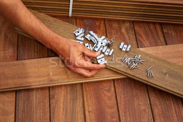 Pokład drewna instalacja tekstury domu pracy Zdjęcia stock © lunamarina