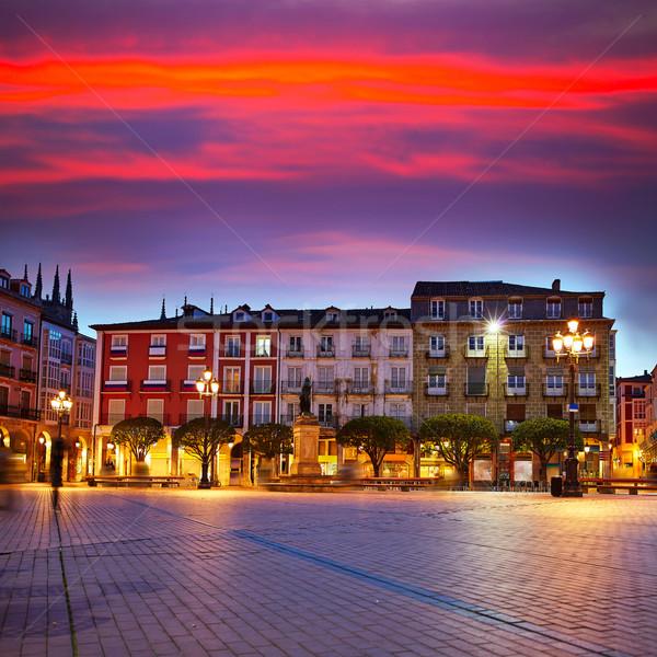 Burgos Plaza Mayor square at sunset in Spain Stock photo © lunamarina