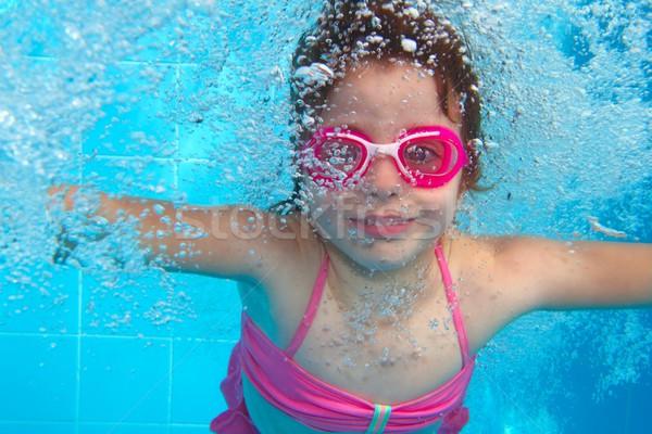 underwater little girl pink bikini blue swimming pool Stock photo © lunamarina