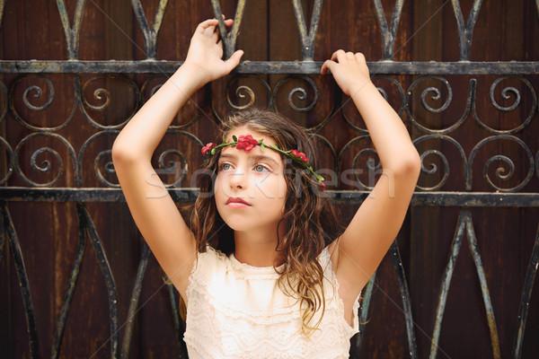 Brunette tourist kid girl in mediterranean old town Stock photo © lunamarina