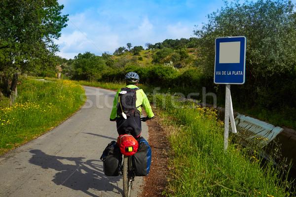 Zarándok motoros LA út Spanyolország férfi Stock fotó © lunamarina