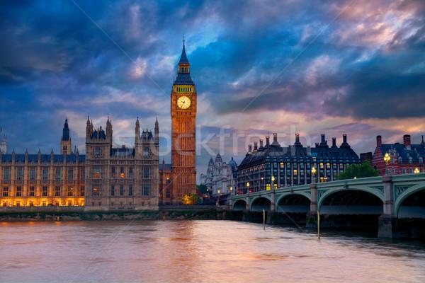 Big Ben klok toren Londen theems rivier Stockfoto © lunamarina