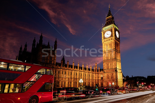 Big Ben horloge tour Londres bus coucher du soleil Photo stock © lunamarina