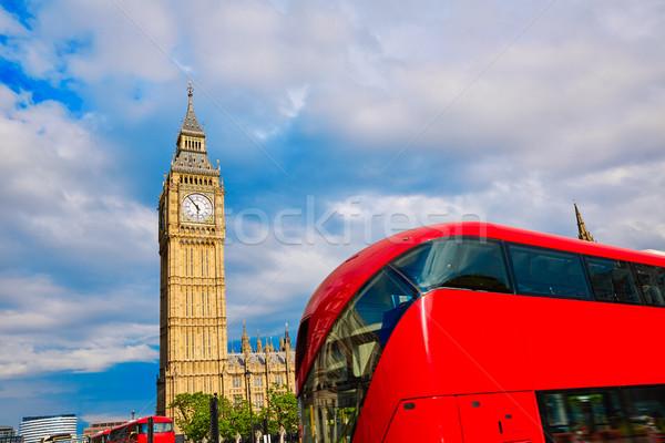 Big Ben Clock Tower with London Bus Stock photo © lunamarina