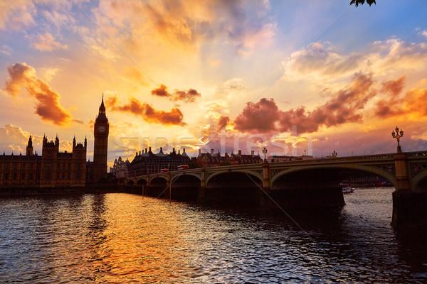 Foto d'archivio: Big · Ben · clock · torre · Londra · thames · fiume
