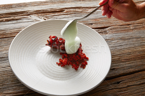 Grilled octopus with parsley air foam Stock photo © lunamarina