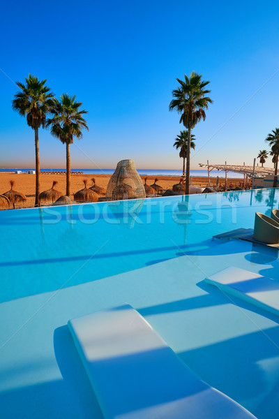 Resort infinity pool in a beach with palm trees Stock photo © lunamarina