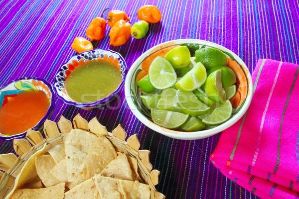 Mexikói étel chili nachos citrom Mexikó íz Stock fotó © lunamarina