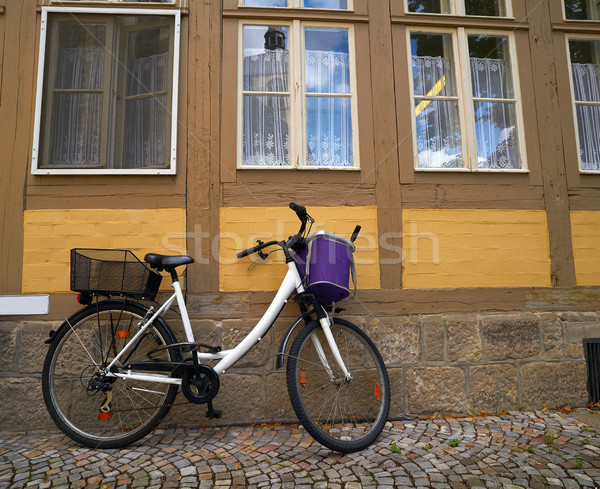 Bicicleta Alemania ciudad moto montanas casas Foto stock © lunamarina