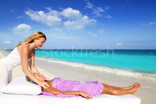 Mayan reiki massage in Caribbean beach woman Stock photo © lunamarina
