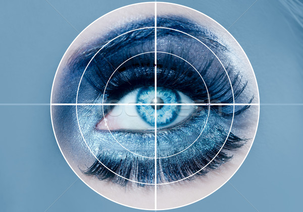 blue eye makeup macro pupils recognition sensor Stock photo © lunamarina
