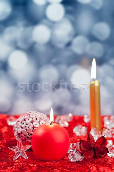 Noel kırmızı altın mumlar bokeh Stok fotoğraf © lunamarina