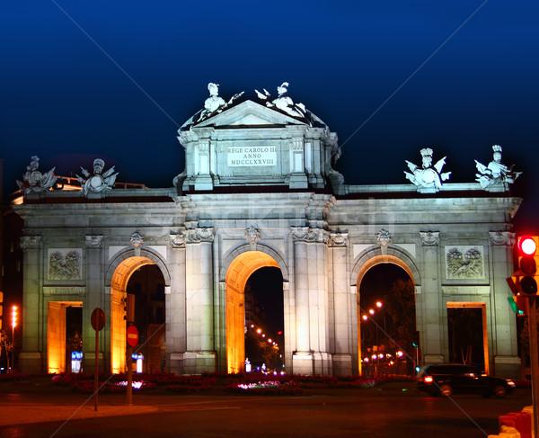 Madryt noc światła Hiszpania budynku miasta Zdjęcia stock © lunamarina