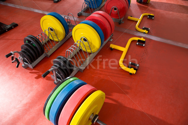 Crossfit fitness gym weight lifting bar equipment Stock photo © lunamarina