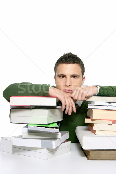 Jonge ongelukkig student boeken huiswerk Stockfoto © lunamarina