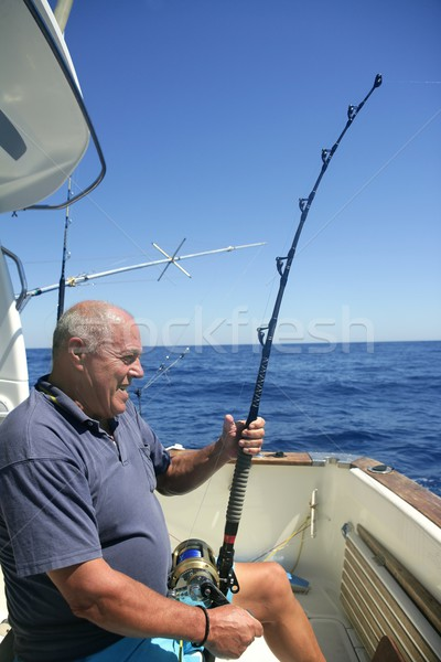 Angler senior big game sport fishing boat Stock photo © lunamarina