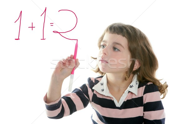 little girl writing add numbers marker Stock photo © lunamarina