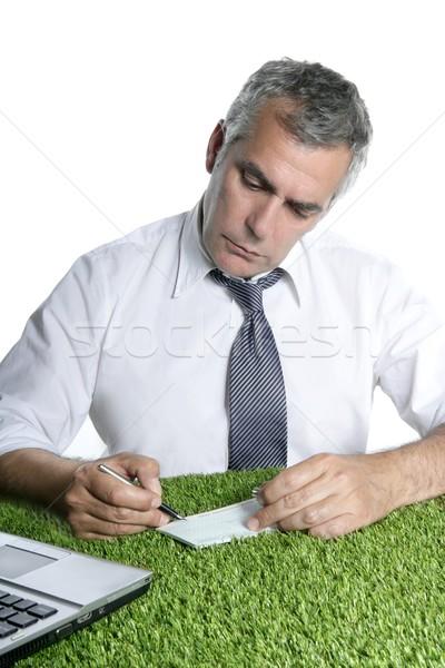 Foto stock: Senior · empresário · assinar · verificar · grama · verde · assinatura
