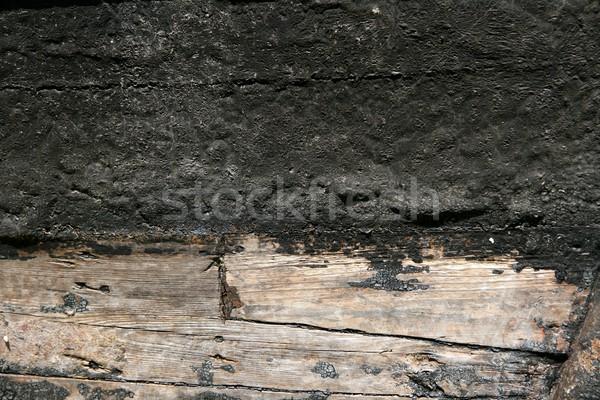 Black paint in wooden boat hull grunge aged Stock photo © lunamarina