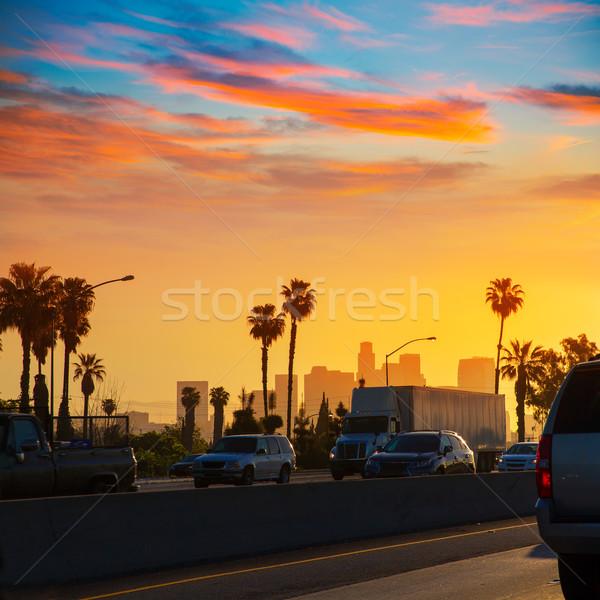 La Los Angeles pôr do sol linha do horizonte tráfego Califórnia Foto stock © lunamarina