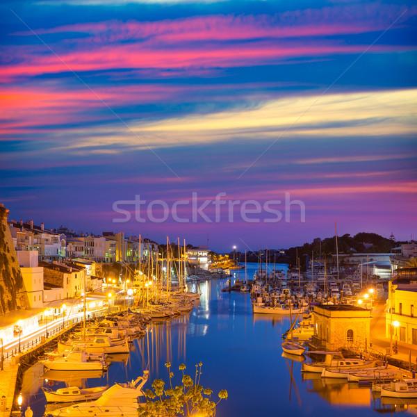 Marina port coucher du soleil mairie cathédrale plage Photo stock © lunamarina